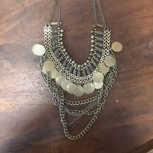 Gold Boho Style Layered Coin Necklace
